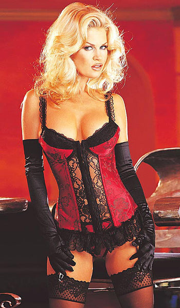Women's satin jacquard red/black long-line bustier by Shirley of Hollywood