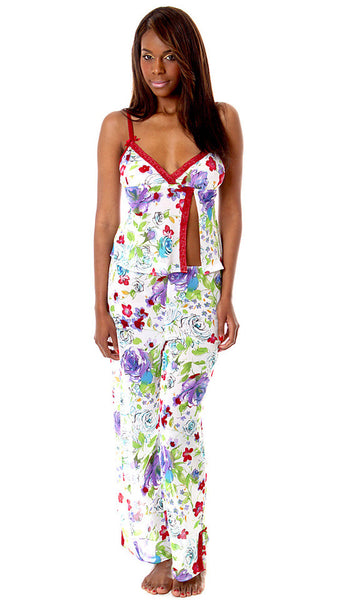 Women's Camisole/Pants Set - Red Floral Printed Georgette