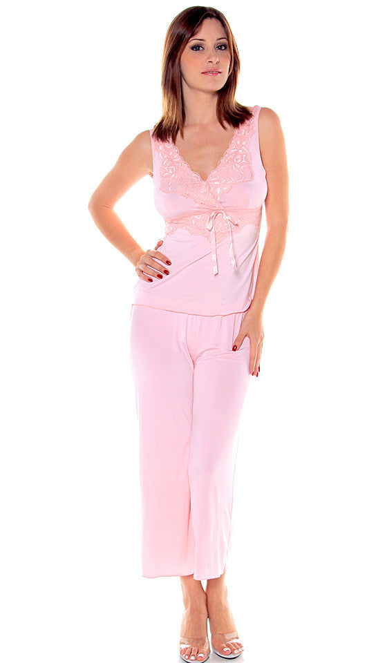 Women's Camisole/Pants Set - Pink Microfiber Knit Capri Pants