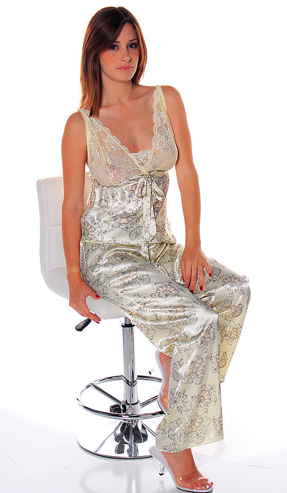 Women' Camisole/Pants Set - Ivory Peach Floral Printed Satin & Lace