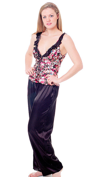 Women' Camisole/Pants Set - Floral Print & Black Satin Charmeuse