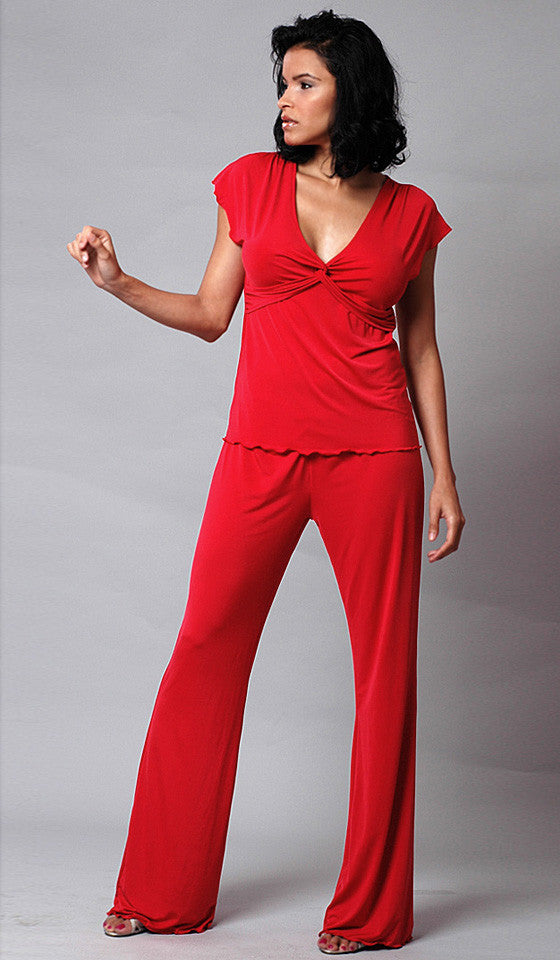 Women's Pajamas - Red Microfiber Knit Pull-Over Tunic-Style