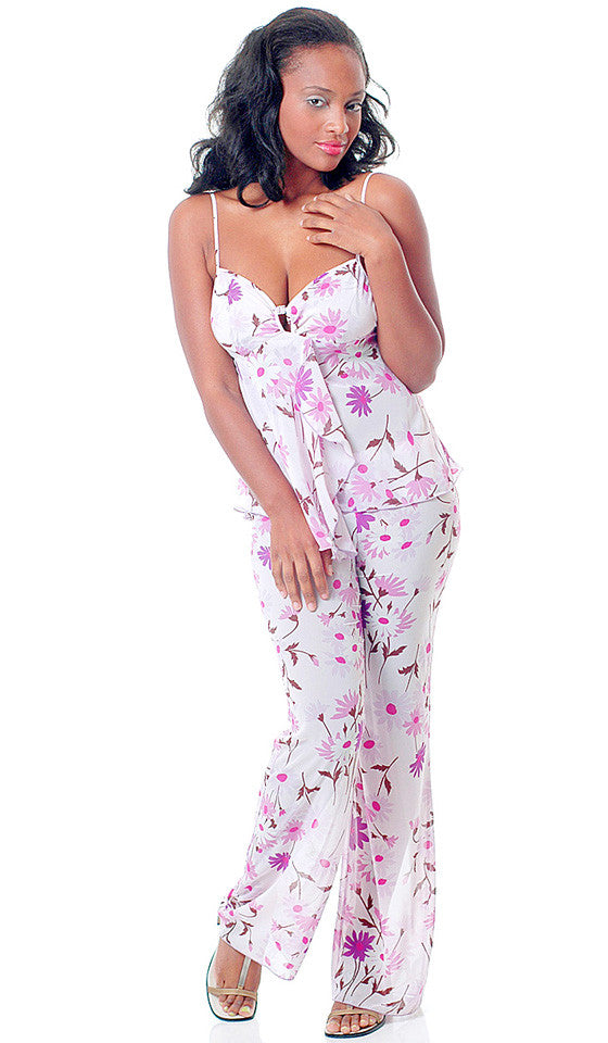Women's Camisole/Pants Set - Lilac Sheer Chiffon Floral Print