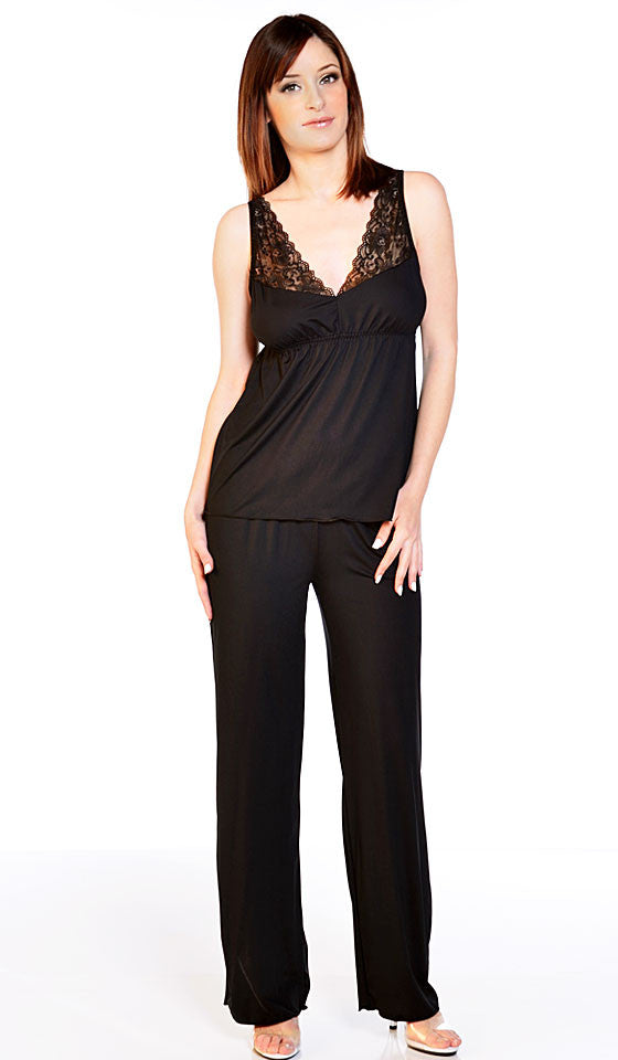 Women's Camisole/Pants Set - Black Microfiber Empire-Waist w/Stretch Lace