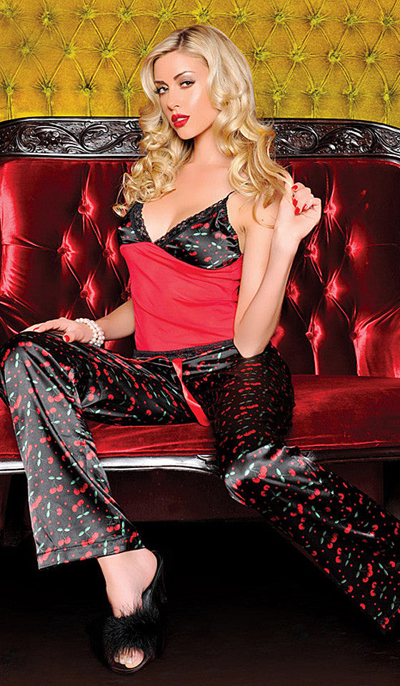 Women's Camisole/Pants Set - Poly Satin & Mesh Cherries Print by Seven 'til Midnight