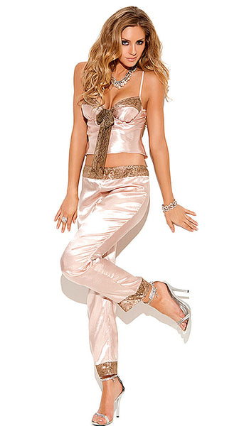 Camisole & Pants Set - Champagne Lace Trimmed Satin Charmeuse by Elegant Moments