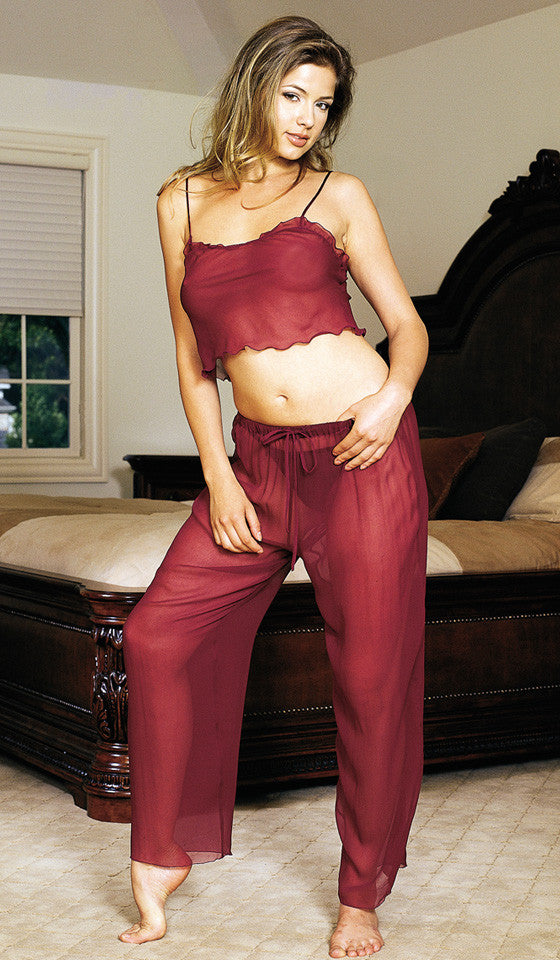Women's Camisole/Pants Set - Cranberry Silk Chiffon w/Flirty Top by Magic Silk