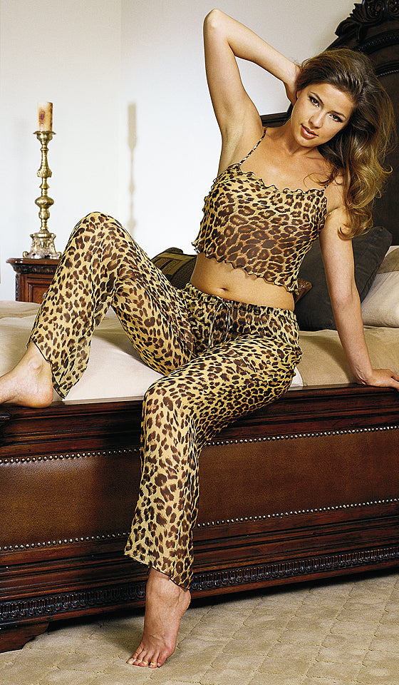 Women's Camisole/Pants Set - Silk Chiffon Leopard Print by Magic Silk