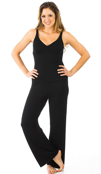 Women's Camisole/Pants Set - Black Lazy Daze Knit Crossover by Rhonda Shear