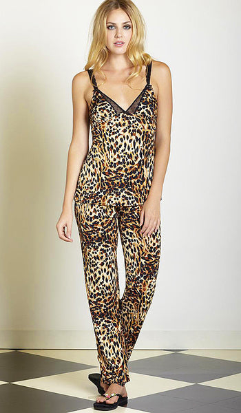 Women's Camisole/Pants Set - Pussy Galore Slinky Knit Leopard Print by Betsey Johnson
