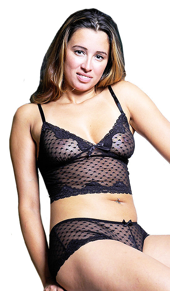 Women's Camisole/Boy Shorts Set - Black Stretch Mesh Lace-Trimmed