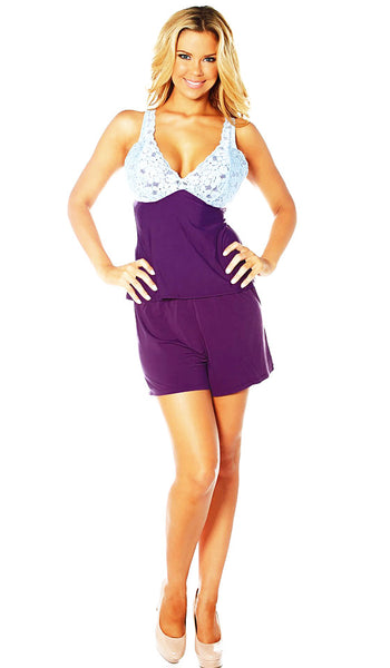 Women's Camisole/Shorts Set - Purple Sweet Butterknit w/Lace Cups by Rhonda Shear