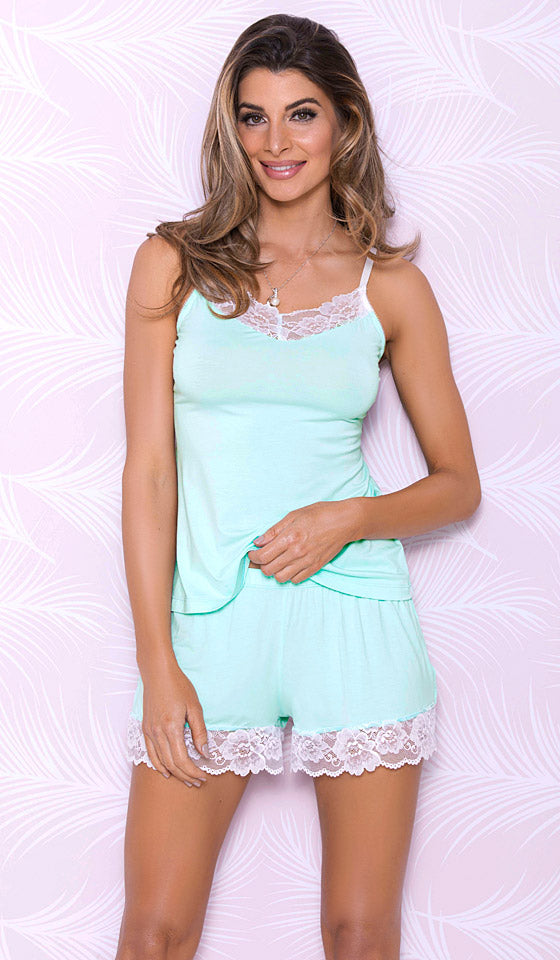 562bd02334 Women s aqua blue stretch knit camisole-shorts set with lace ...
