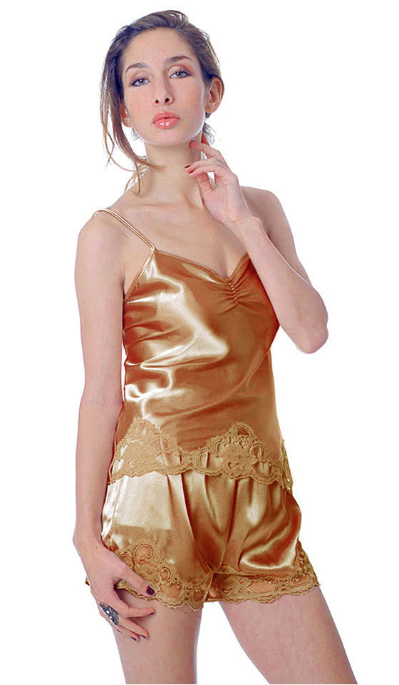 Women's Camisole/Tap Pants Set - Golden Honey Satin Charmeuse w/Lace Trim