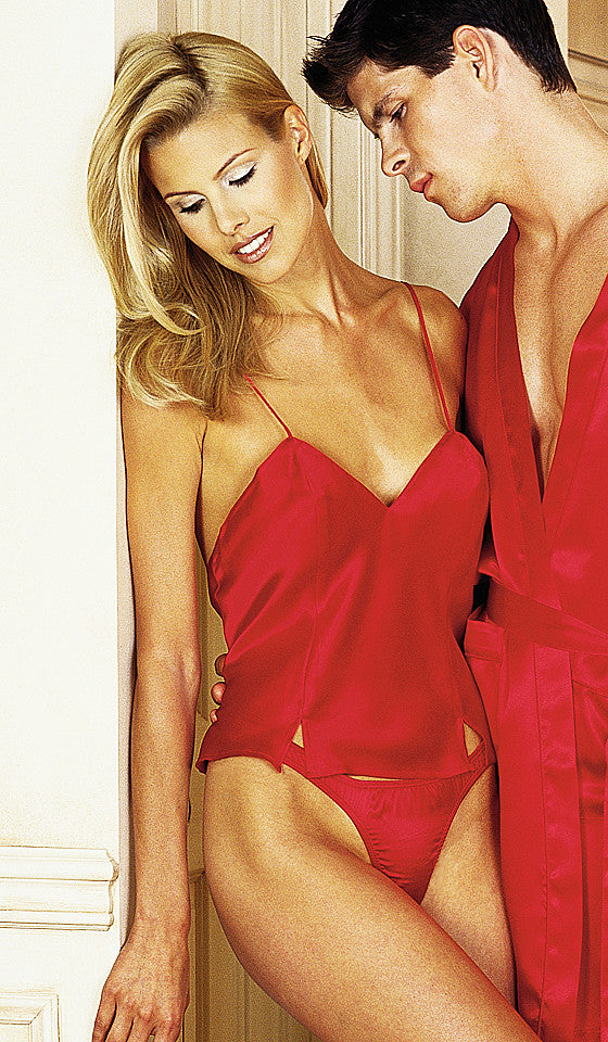Camisole/Thongs Set - Red Silk Charmeuse by Magic Silk