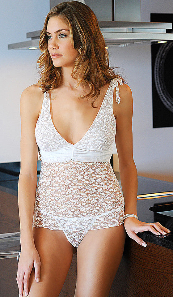 Camisole/Thongs Set - Ivory Sheer Stretch Lace V-Neck by Oh la la Cherie