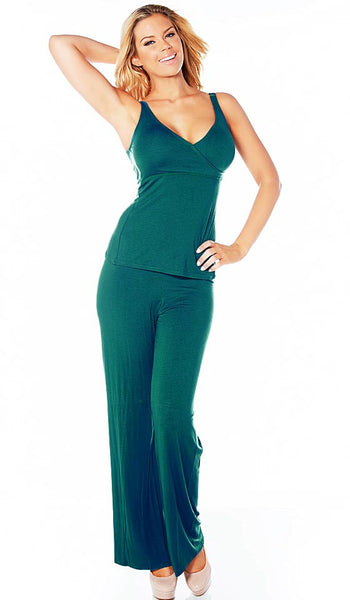 Women's Camisole/Pants Set - Jade Green Lazy Daze Knit Crossover by Rhonda Shear