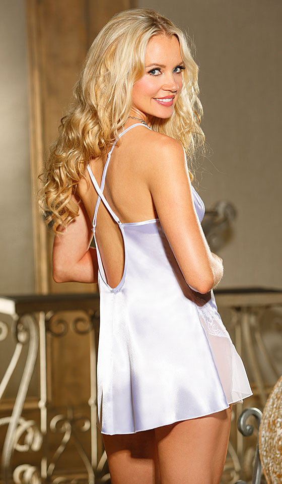 Women's Chemise - Bridal White Charmeuse w/Chiffon & Lace Trim by Shirley of Hollywood