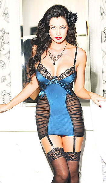 Women's Chemise - Blue/Black Rushéd Satin & Lace w/Removable Garters by Shirley of Hollywood