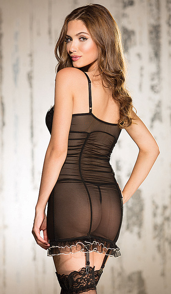 Women's Chemise - Black Shirred Sheer Mesh Chemise with Garters
