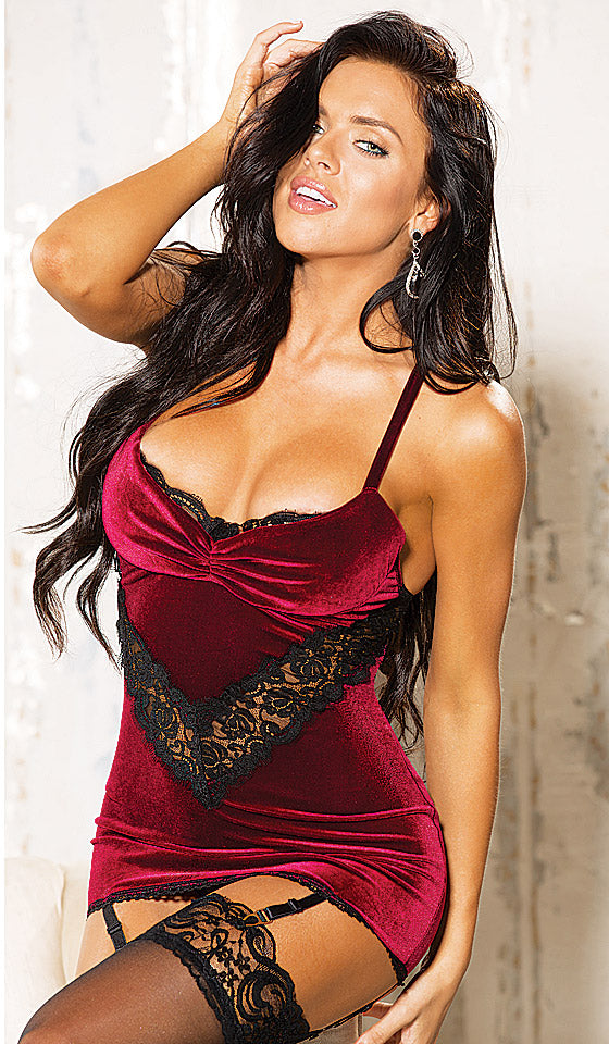 Women's Chemise - Burgundy Stretch Velvet and Eyelash Lace with Garters