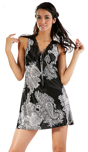 "Women's Chemise - ""Reanna"" Black & White Print Poly Satin by Mystique Intimates"