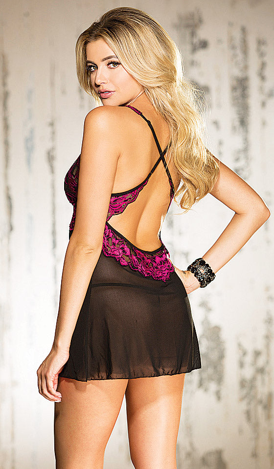 Womens Chemise - Sheer Black with Hot Pink Stretch Lace Overlay