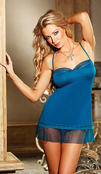 Women's Chemise - Blue Rayon Jersey Knit w/Chiffon & Lace Trim by Shirley of Hollywood