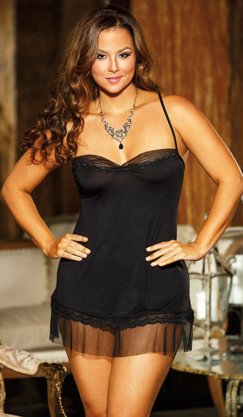 Women's Chemise - Black Rayon Jersey Knit w/Chiffon & Lace Trim by Shirley of Hollywood - view 2