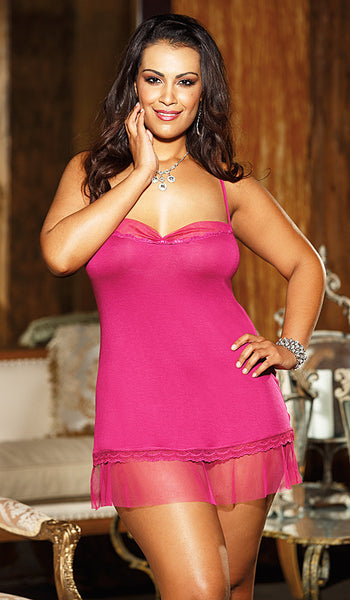 Women's Chemise - Magenta Rayon Jersey Knit w/Chiffon & Lace Trim by Shirley of Hollywood - view 2