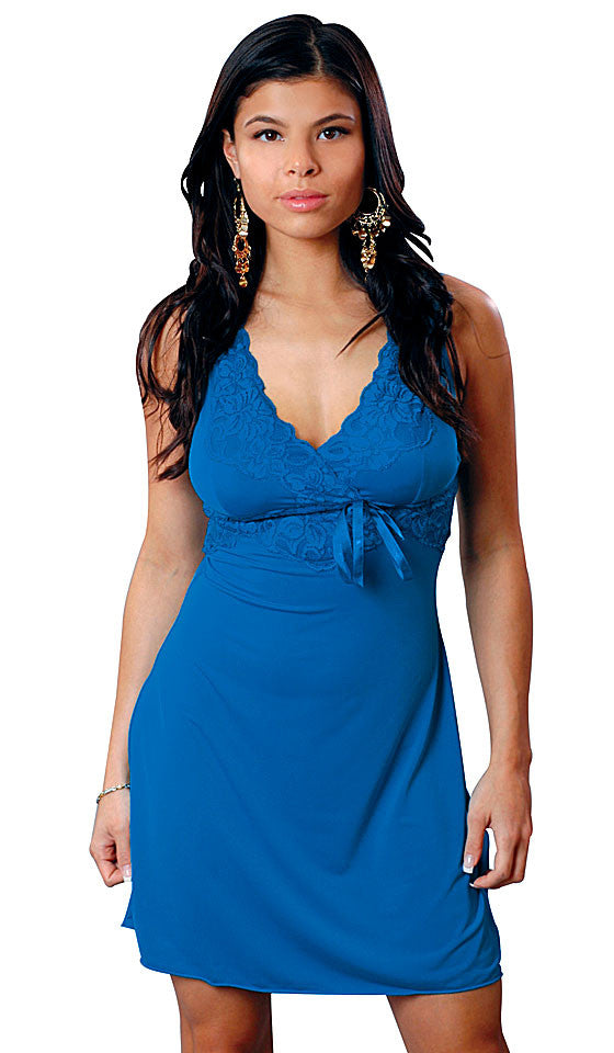 Women's Chemise - Teal Knit Microfiber w/Stretch Lace Trim