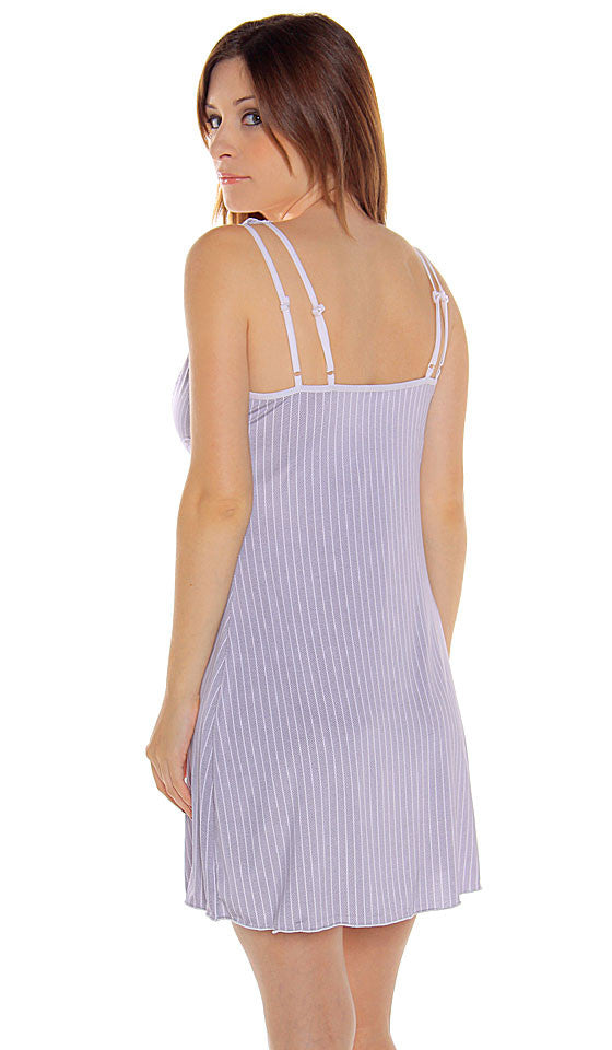 Women's Chemise - Microfiber Gray and White Striped Knit w/Stretch Lace Trim