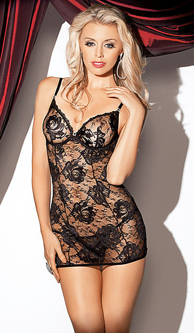 Women's Chemise - Black Stretch Lace w/Jewel Accent by Escante