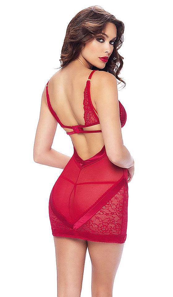 "Women's Chemise - ""Elisa"" Lace w/Fancy Satin Panel Trim in Red by Oh la la Cherie"