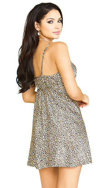 Women' Chemise - Leopard Print Satin Charmeuse - by iCollection - back view