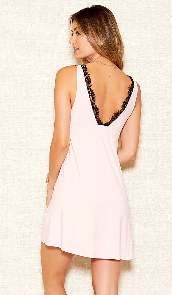 Women's Pink Stretch Knit Lace Overlay Chemise w/Black Lace Trim (Matching Robe available)