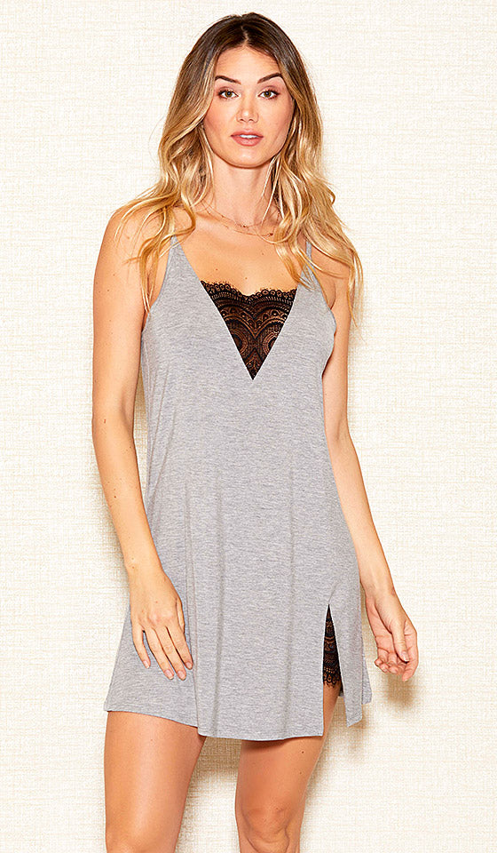 Women's Heather Gray Stretch Knit Chemise w/Lace Inserts (Small-3X) by iCollection
