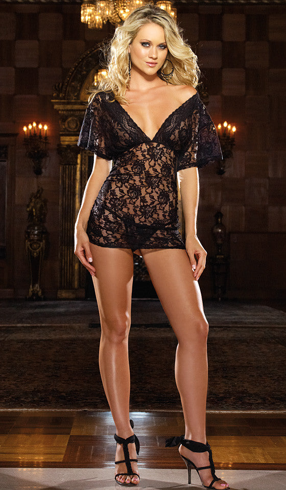 Women's Chemise - Black Shirred Stretch Lace w/Cap Sleeves by Dreamgirl
