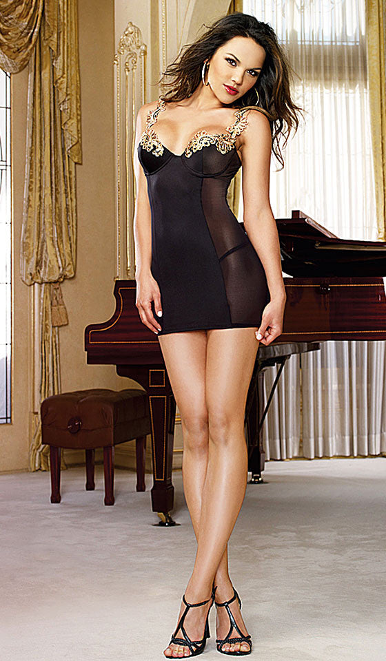 Women's Chemise - Black Stretch Microfiber w/Gold Baroque Lace-Trim by Dreamgirl