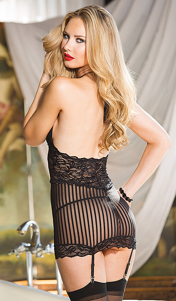 Women's Chemise - Black Sheer Stripe Mesh and Stretch Lace with Garters
