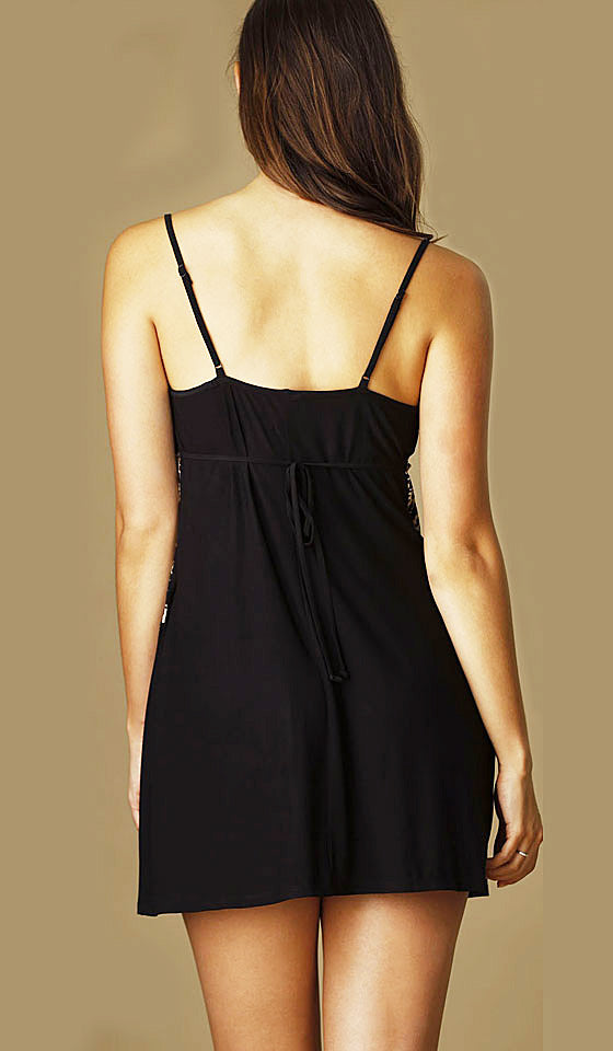 "Women's Chemise - ""Geneva"" Black Knit Velvet & Gold Lace by Jonquil"