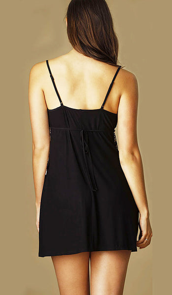 "Women's Chemise - ""Geneva"" Black Knit Velvet & Gold Lace by Jonquil - back view"