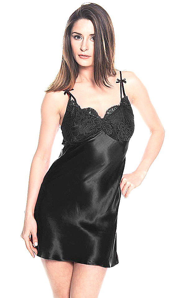 Women's Chemise - Black Silk Charmeuse Chemise w/Lace Overlay Cups by Shirley McCoy