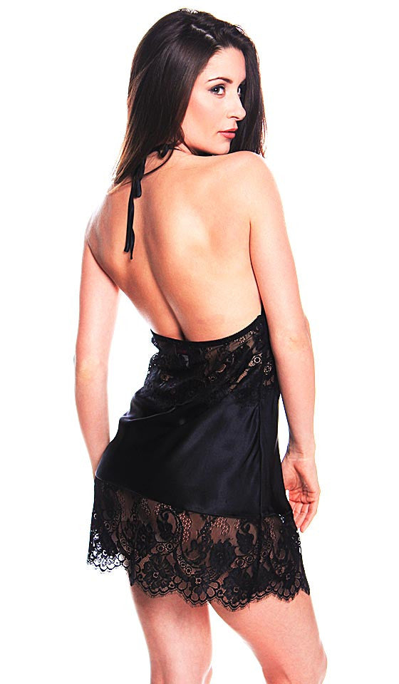 Women's Chemise - Black Silk Charmeuse French Lace Halter Top by Shirley McCoy