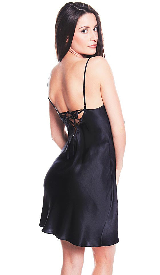 Women's Chemise - Black Silk Charmeuse w/Black & Red Lace Cups by Shirley McCoy