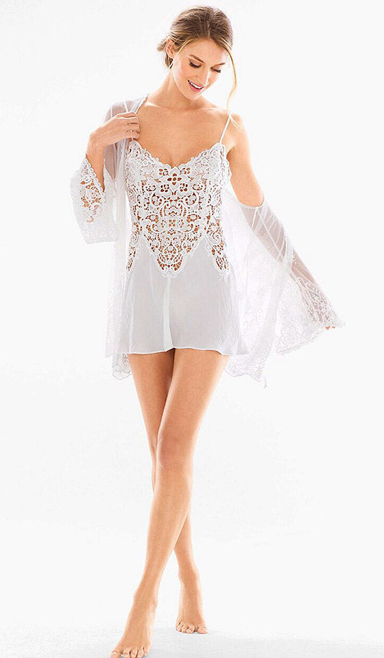 Vintage Short Bridal Crochet & Satin Chemise/Peignoir Set (XS-Large)