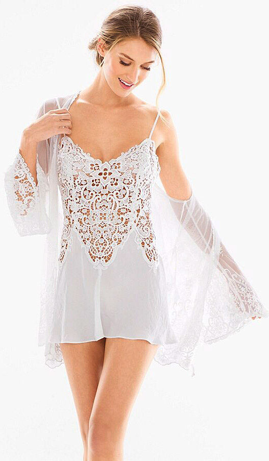 56c8a2f0a18 Vintage Short Bridal Crochet   Satin Chemise Peignoir Set (XS-Large) ...