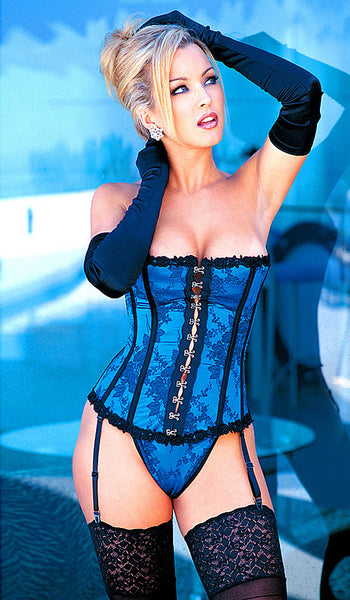 Women's Corset - Strapless Royal Blue Tapestry Satin Jacquard by Shirley of Hollywood