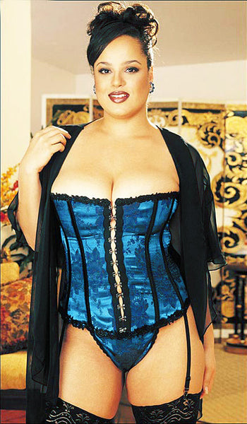 Women's Corset - Strapless Royal Blue Tapestry Satin Jacquard by Shirley of Hollywood view 2