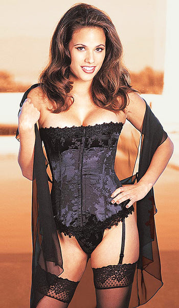 Women's Corset - Black Strapless Satin Jacquard Tapestry w/Venice Trim by Shirley of Hollywood